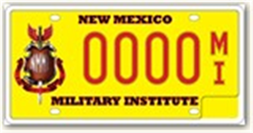 New Mexico Military Institute License Plate