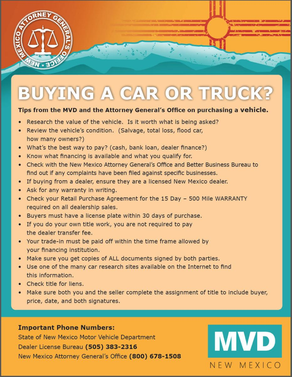 Buying a Car or Truck flyer