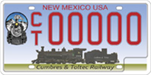 Cubres and Toltec Railway License Plate Image