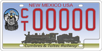 Cumbres and toltec railway sample license plate