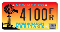 Farm and ranch heritage sample license plate