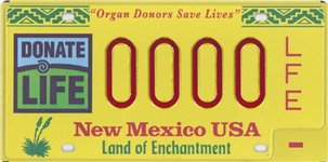Organ Donor License Plate Image