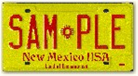 Standard Red and Yellow License Plate